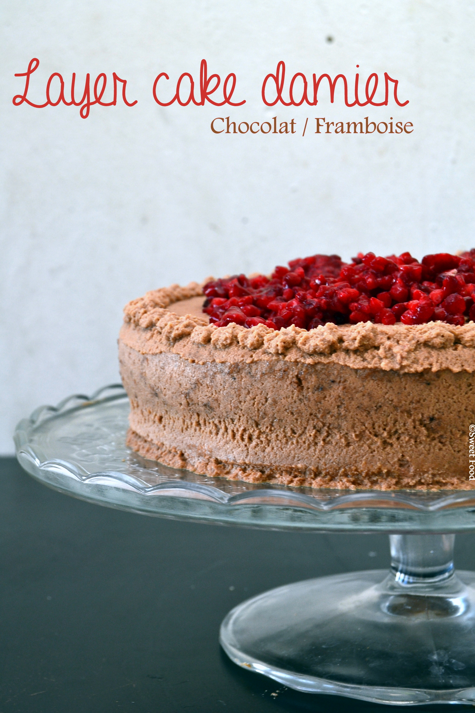 Layer cake damier chocolat framboise - Moule a layer cake ...