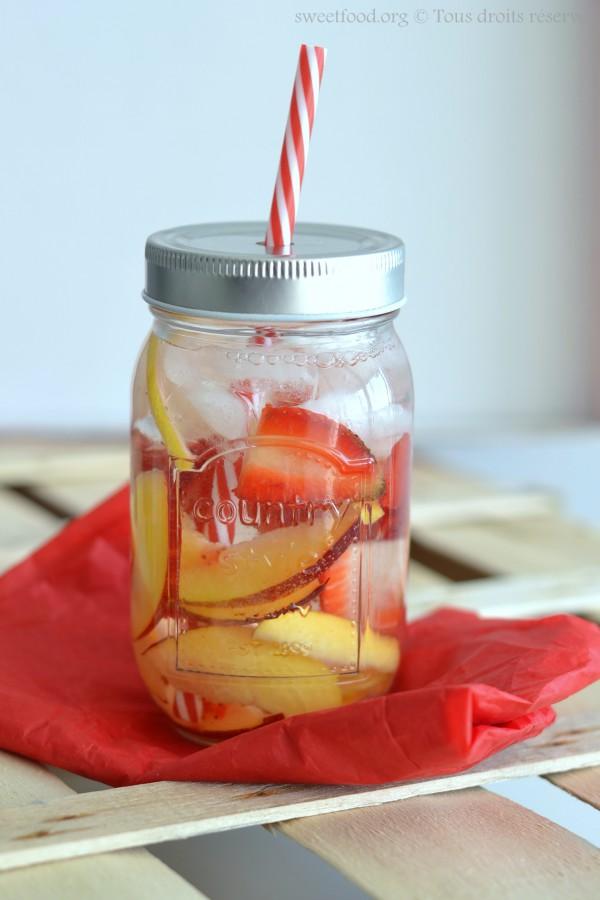 [ Detox Water ] Eau détoxifiante fraise, citron, nectarine