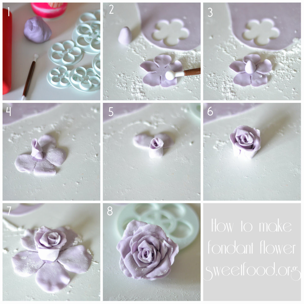 fondant flower how to